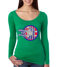 Hillary for prison 2016 Tri Blend Long Sleeve Scoop