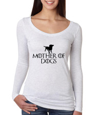 Game of Thrones Mother Of Dogs Women Tri Blend Long Sleeve Scoop