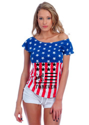 American and forever 4th of july Drop Shoulder Tee w US Flag