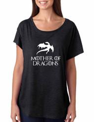Women's Dolman Shirt Mother Of Dragons White Print