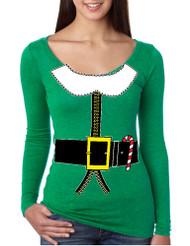 Women's Shirt Elf Suit Santa's Elves Christmas Gift Xmas Top