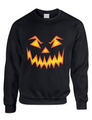 Adult Crewneck Angry Pumpkin Face Halloween Costume Top Idea