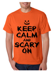 Men's T Shirt Keep Calm And Scary On Cool Halloween Costume Tee