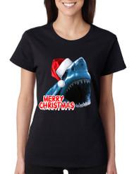 Women's T Shirt Santa Jaws Merry Christmas Ugly Fun Xmas Top