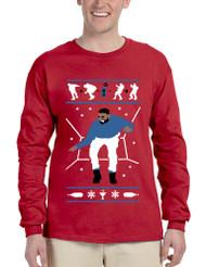 Men's Long Sleeve Hotline Bling Blue 1-800 Hotline Ugly Sweater