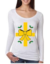 Women's Shirt Christmas Gift Wrap Xmas Ugly T Shirt Fun Shirt