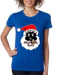 Women's Shirt Santa's Drinking Team Funny Ugly Xmas Shirt