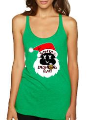 Women's Tank Top Santa's Drinking Team Funny Ugly Xmas Top