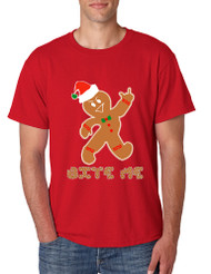 Men's T Shirt Bite Me Gingerbread Ugly Christmas Funny Gift Cool Tee