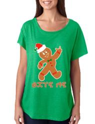 Women's Dolman Shirt Bite Me Gingerbread Ugly Christmas Funny