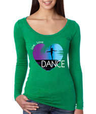 Women's Shirt Dance Art Purple Print Love Cute Gift Nice Top