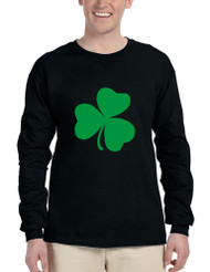 Men's Long Sleeve Green Shamrock Graphic St Patrick's Day Shirt