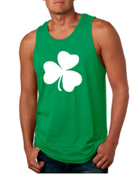 Men's Tank Top White Shamrock Graphic St Patrick's Day Party Top
