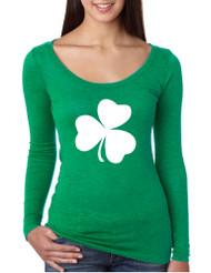 Women's Shirt White Shamrock Graphic St Patrick's Day Cool Top
