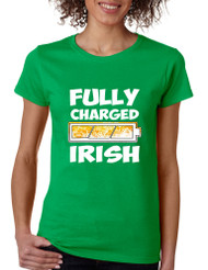 Women's T Shirt Fully Charged Irish St Patrick's Day Tee Fun
