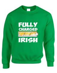 Adult Sweatshirt Fully Charged Irish St Patrick's Day Top