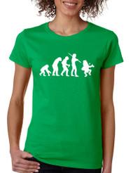 Women's T Shirt Irish Evolution Leprechaun St Patrick's Tee