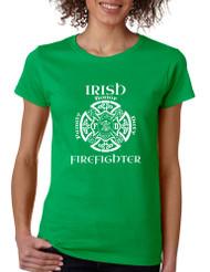 Women's T Shirt Irish Firefighter St Patrick's Shirt Irish Party