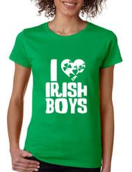 Women's T Shirt I Love Irish Boys St Patrick's Day Party Tee