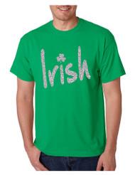 Men's T Shirt Irish Glitter Silver Shamrock St Patrick's Tee