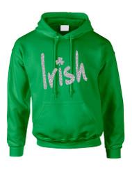 Adult Hoodie Irish Glitter Silver Shamrock St Patrick's Top