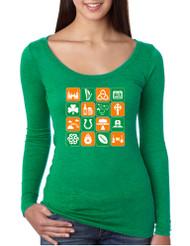 Women's Shirt Irish Icons St Patrick's Day Symbols Shirt