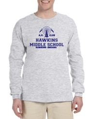 Men's Long Sleeve AV Club Hawkins Middle School Tee Shirt