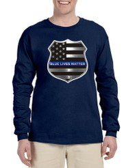 Men's Long Sleeve Blue Lives Matter Ameican Flag Shirt