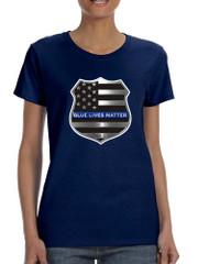 Women's T Shirt Blue Lives Matter American Flag Tee