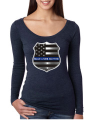 Women's Shirt Blue Lives Matter American Flag Shirt