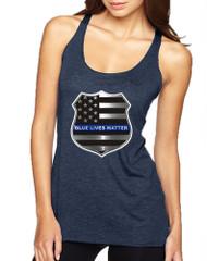 Women's Tank Top Blue Lives Matter American Flag Shirt