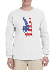 Men's Long Sleeve American Flag Hand 4th Of July Shirt