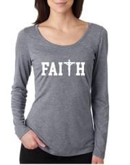 Women's Shirt Faith Print Cross Love Christian Shirt