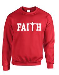Adult Sweatshirt Faith Print Cross Love Christian Top