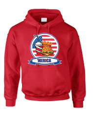 Adult Hoodie Fast Food 'merica Love USA 4th Of July Top