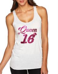 Women's Tank Top Queen 16 Glitter Pink Sweet Sixteen Party Top