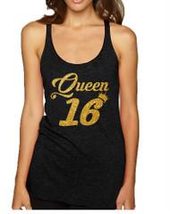 Women's Tank Top Queen 16 Glitter Gold Sweet Sixteen Bday