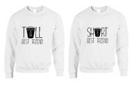 Set Of 2 Sweatshirts Tall Short Best Friend Coffee Matching Tops