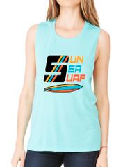 Women's Flowy Muscle Top Sun Sea Surf Lover Summer Top