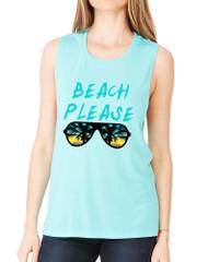 Women's Flowy Muscle Top Beach Please Summer Beachwear