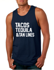 Men's Tank Top Tacos Tequila Tan Lines Beach Summer Top
