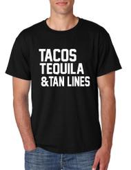 Men's T Shirt Tacos Tequila Tan Lines Beach Summer Top