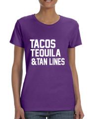 Women's T Shirt Tacos Tequila Tan Lines Beach Summer
