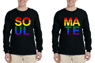 Set Of 2 Men's Long Sleeve Soul Mate Couple Gay Pride Shirts