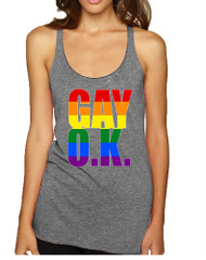 Women's Tank Top Gay OK Rainbow Pride Love Support