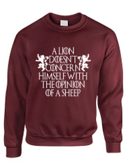 Adult Sweatshirt Lion Doesn't Concern Himself With Opinion Of Sheep