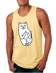 Men's Tank Top Middle Finger Cat Funny Humor Top
