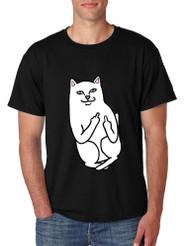 Men's T Shirt Middle Finger Cat Funny Humor Tshirt