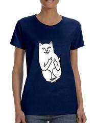 Women's T Shirt Middle Finger Cat Humor Tee Funny Shirt