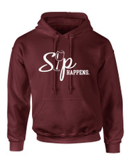 Adult Hoodie Sip Happens Cool Wine Lover Top Hot Gift